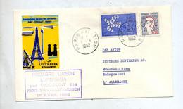 Lettre Premier Vol  Lufthansa  Viscount Paris Munich - Avions