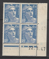 CD 718A FRANCE 1947 COIN DATE 718A :  22 / 1 / 47 TYPE MARIANNE DE GANDON - 1940-1949