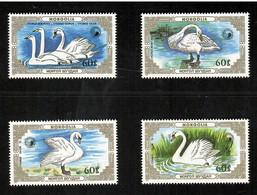 Mongolia 1987, Bird, Birds, Swan, Set Of 4v, MNH** - Swans