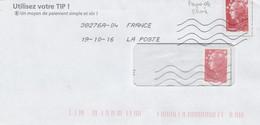 FRANCE  FAUX DIT DE CHINE SUR COURRIER COMMERCIAL - Abarten: 2010-2019 Briefe & Dokumente