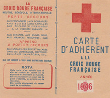 CARTE D'ADHERENT CROIX ROUGE  1946 - Supplies And Equipment
