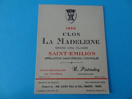 Etiquette Neuve Clos La Madeleine 1959 Grand Cru Classé Saint Emilion Export - Bordeaux