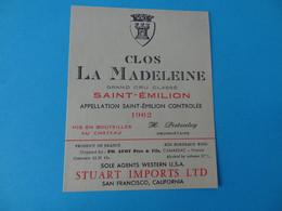 Etiquette Neuve Clos La Madeleine 1962 Grand Cru Classé Saint Emilion Export - Bordeaux