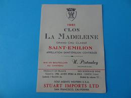 Etiquette Neuve Clos La Madeleine 1961 Grand Cru Classé Saint Emilion Export - Bordeaux