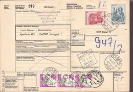 Schweiz - Auslandspaketkarte-Bulletin D'expedition. 1977. Basel 3 Nach Stuttgart 1. Basel-Spalen, Zollamt Basel, Freibur - Brieven En Documenten