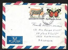 République Du Burundi  Lettre  Par Avion  Zèbre Et Papillon - Andere