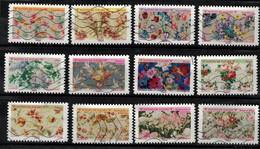 NEW 2021 Les 12 Timbres Du Carnet - MOTIFS De FLEURS Oblitérés - Used Stamps