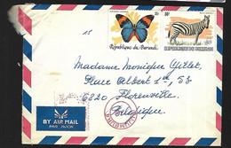 République Du Burundi Lettre Animaux Zèbre Et Papillon   1981 De Bujumbura   Pour Florenville  En Belgique - 1980-89: Ongebruikt