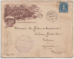 N° 72 Sur Lettre Illustrée Villars Sur Ollon Suisse Grand Hôtel Muveran Génillard Propriétaire  Cachets Août 1899  RARE - Briefe U. Dokumente