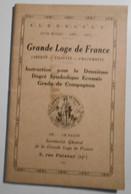 Franc Maçonnerie, Grande Loge De France, Rite Ecossais, Instruction 2eme Degré  (bon Etat) - Other