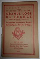 Franc Maçonnerie, Grande Loge De France, Rite Ecossais, Instruction 1eme Degré  (bon Etat) - Other