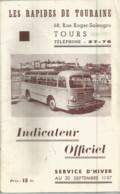 JZ / Guide Ancien  RAPIDE DE TOURAINE Tours   1957  BUS CAR AUTOBUS Service D'hiver  INDICATEUR OFFICIEL - Tours