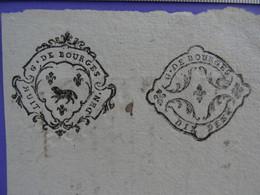 """1753 GENERALITE DE BOURGES Papier Timbré N°170 """"HUIT DEN"""" + Contremarque N°180 """"DIX DEN."""" Superbe - Seals Of Generality"""