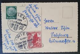 Deutsches Reich 1939, Postkarte MiF Tag Der Briefmarke WIEN - Storia Postale