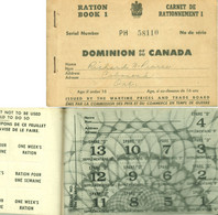 """CANADA Peterborough ON 1942 Decorative """" Carnet D' Rationnement - Ration Book Inside 4 Full Sheets With Ration Stamps """" - Fiscali"""