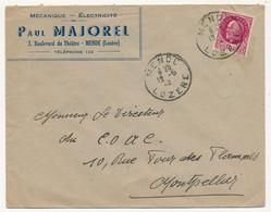 """FRANCE - Env. En-tête """"Mécanique Electricité Paul MAJOREL"""" MENDE (Lozère) Affr 1,50 Bersier 1942 - Elektrizität & Gas"""