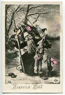 CPA Glacée 1911 * HEUREUX NOËL * Père Noël St Nicolas En Manteau Noir Hotte De Jouets Et Arlequin Polichinelle En Main - Santa Claus