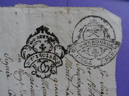 """1785 GENERALITE DE BOURGES Papier Timbré N°191 """"1 SOL 3 DEN"""" +202 """"D.F. 1SOL 5D1/2"""" Montmorillon Vienne Limoges Poitiers - Seals Of Generality"""