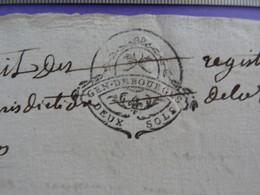 """1768 GENERALITE DE BOURGES Papier Timbré N°192 """"DEUX SOLS"""" Vicomté De Bridiers La Souterraine Creuse Anne Vignaud - Seals Of Generality"""