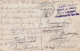 """Nijmegen - 1918  - Cachet """" PORTVRIJ FRANC DE PORT Militaires Etrangers Internés Dans Les Pays-Bas """"-  Scan Recto- Verso - Brieven En Documenten"""