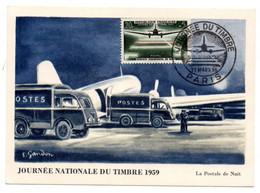 Carte Premier Jour / Journée Du Timbre 1959 / Aéropostal De Nuit / 21 Mars 1959 /  Paris - 1950-59
