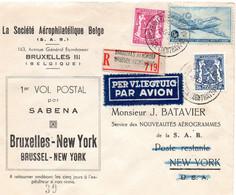 1er Vol Postal Par SABENA Bruxelles- New York (1947) - Luftpost