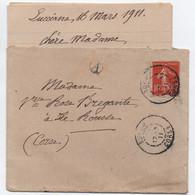 CORSE Lettre Avec Correspondance Semeuse 10c Oblitération BORGO 1911 + Boîte Rurale A = LUCCIANA - 1877-1920: Période Semi Moderne