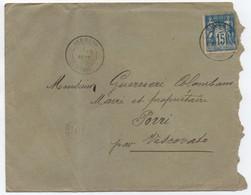 CORSE 1896 Lettre 15c SAGE Oblitération Cachet Type 18 SERMANO + OR (au Dos Convoyeur BASTIA à GHISONACCIA) - 1877-1920: Période Semi Moderne