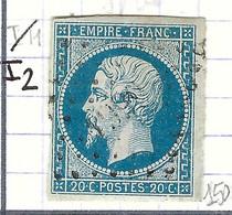 FRANCE Classique: Le Y&T 14A, Obl. PC1990 (Mézidon, Ind.2), CALVADOS, Cadre S Brisé - 1853-1860 Napoleon III