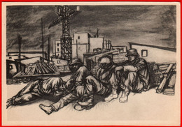 24545 Unemployed Masons Italy Italian Builder Building Construction Crane Unemployment Propaganda USSR 1957 Soviet - Rusland
