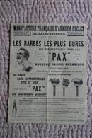 """AFFICHE PUBLICITAIRE : Manufacture De ST ETIENNE, Côté Face Le Rasoir """"PAX"""" Et Côté Pile La Bascule """"EXACT"""". - Posters"""