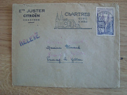 ENVELOPPE ENTREPRISES JUSTER CITROËN CHARTRES - 1921-1960: Modern Tijdperk