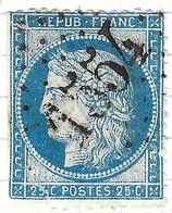 FRANCE Classique: Le Y&T 60C, Obl. GC 1554 (Formigny, Ind.18) CALVADOS, TP Déf. - 1871-1875 Ceres