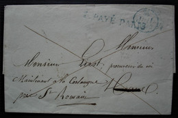 1832 Port Payé Paris En Bleu, Lettre Avec Cachet Le Havre Estafette Au Dos - 1801-1848: Précurseurs XIX