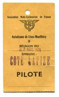 """Badge De Pilote De Course Moto """"Autodrome De Linas-Monthléry"""" 1978 - -Epreuve """"Côte Lapize"""" Moto-Cyclecariste De France - Other"""