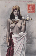 ALGERIE. CPA COULEUR . SERVANTE ARABE OFFRANT LE CAFE. ANNEE 1909 + TEXTE - Scènes & Types