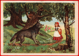24636 Sazonov Fairy Tale Little Red Riding Hood Gray Wolf Girl Children Strawberry Stump Baby Daisy 1956 Signed By The - Gruppi Di Bambini & Famiglie