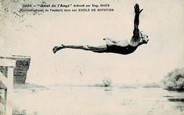 """Caen """"Saut De L'Ange"""" Exécuté Par Eugène Maës (Ex-International De Football) Dans Son école De Natation Circulée En 1923 - Caen"""