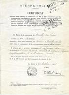 Certificat Pour Obtenir La Réduction De 50% Pour Chemins De Fer (guerre 1914-15) - Unclassified