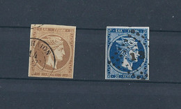 GREECE LARGE HERMES HEAD 1871-1872 PRINTINGS (2l.& 20l) HEL 33a & 35e USED VF - Used Stamps