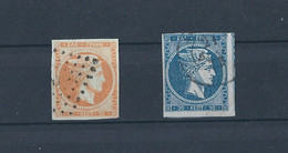 GREECE 1871 LARGE HERMES HEAD MESHED PAPER PRINT (10l. & 20l.) HEL 40a,41b USED - Used Stamps