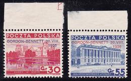 Polska, Poland, 1936, Balloon Gordon-Bennett, Mi. 313/4, MNH, The 30 Gr. Value Slightly Creased - Nuovi