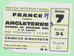 MATCH INTERNATIONAL RUGBY. FRANCE Contre  L'ANGLETERRE 1968. STADE YVES-DU-MANOIR A COLOMBES. - Tickets - Vouchers