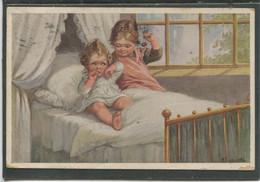 19299 Deux Fillettes Sur Un Lit - Fialkowska, Wally