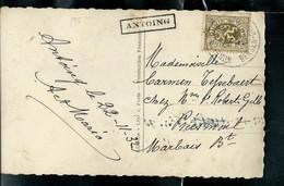 Carte Fantaisie Obl. Ambulant MONS...  + Griffe Encadrée De ANTOING - Linear Postmarks