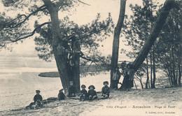 Arcachon (33 Gironde) Plage Et Forêt - édit Lafont Série Côte D'Argent (trait Blanc Dans Le Cliché Coin G) Circulée 1911 - Arcachon