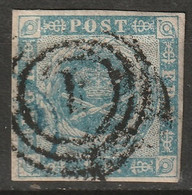 """Denmark 1854 Sc 3  Used Paper Adhesion """"1"""" Ring Cancel - Oblitérés"""