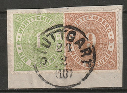 Wurttemberg 1873 Sc 47,51  Used On Piece Stuttgart CDS - Wuerttemberg