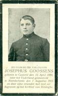 WO1 / WW1 - Doodsprentje Josephus Goossens - Kasterlee / Noordschote  - Gesneuvelde - Esquela