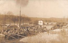 FLAVIGNY-sur-MOSELLE - Carte-Photo D'1 Péniche Sur La Canal De La Marne Au Rhin - Pont Du Gouvernement- Militaires - Other Municipalities